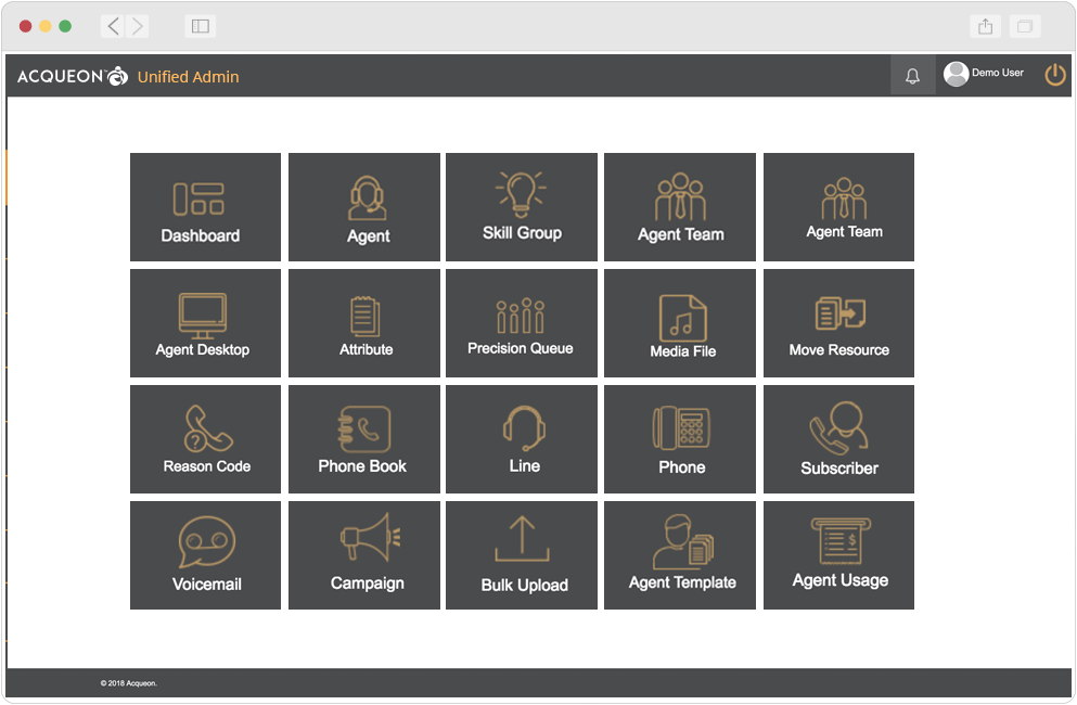 Configure agents, skills, attributes, voicemail, wrap-up codes, teams, and campaigns in one interface using Acqueon Unified Admin