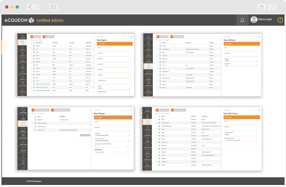 Agility to perform complex administration tasks with limited technical skills using Acqueon Unified Admin